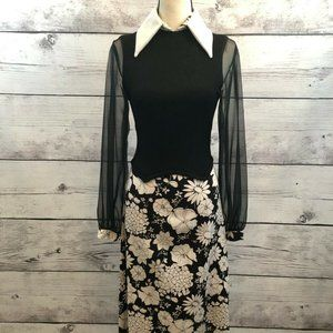 Vintage 60s 70s Maxi Dress Women Small Black White
